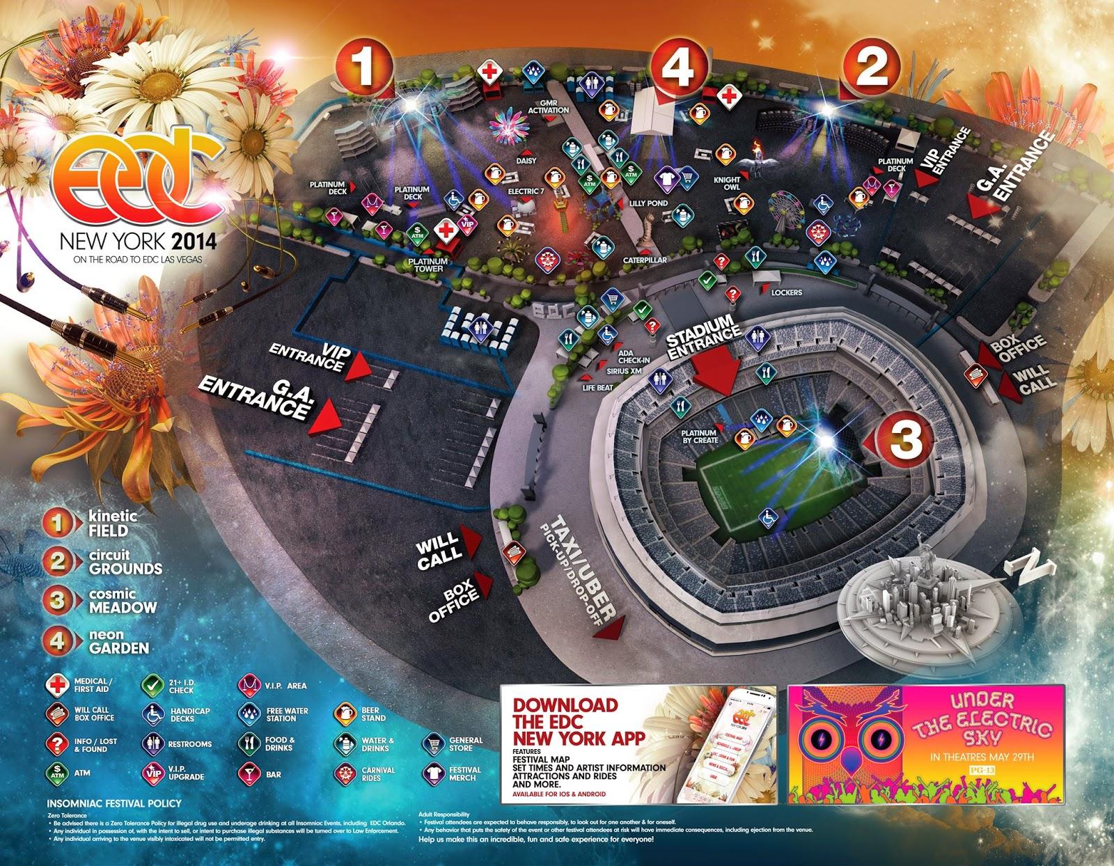 edc new york 2014 set times festival map revealed
