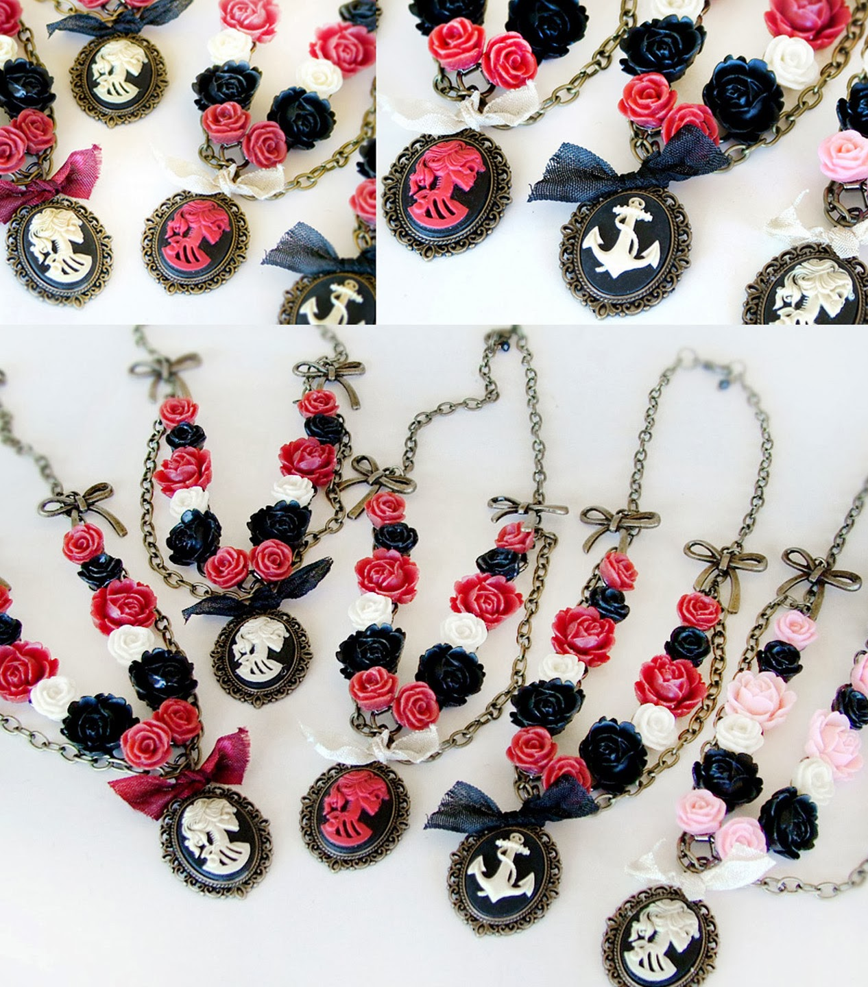 skull cameos with roses and antique bronze chain necklace