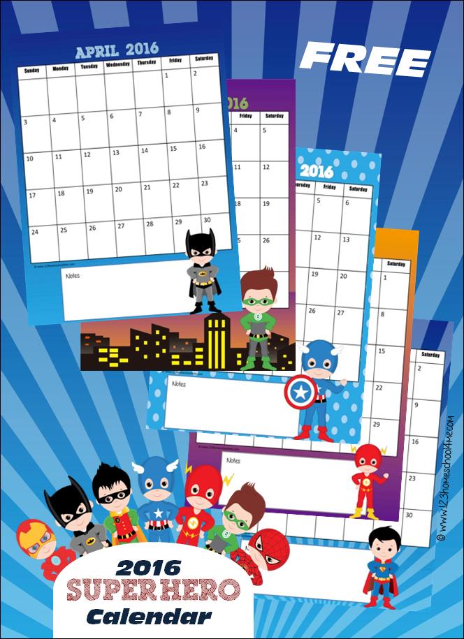FREE 2016 Super Hero Calendar – Calendar Templates for Kindergarten