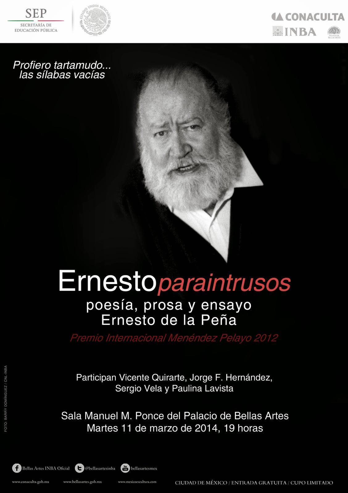 Recuerdan a Ernesto de la Peña en el Palacio de Bellas Artes