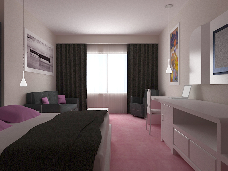 3d hotel design dise o de habitaci n de hotel en tonos for Diseno de habitacion de hotel