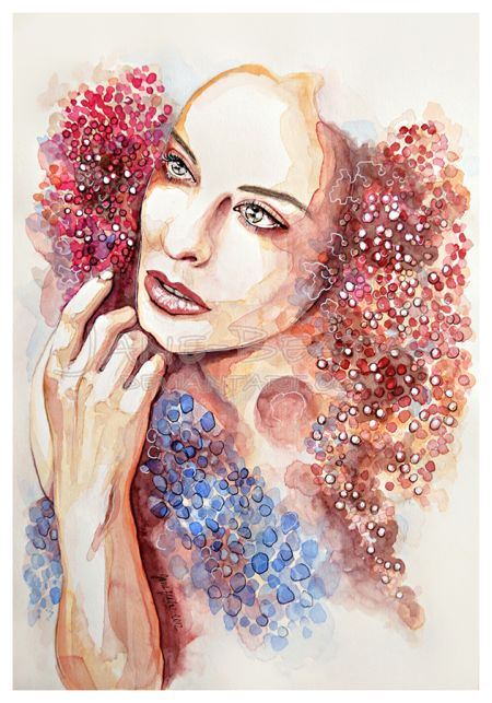 Jana Lepejova jane-beata deviantart pinturas aquarela mulheres olhares femininos Outono