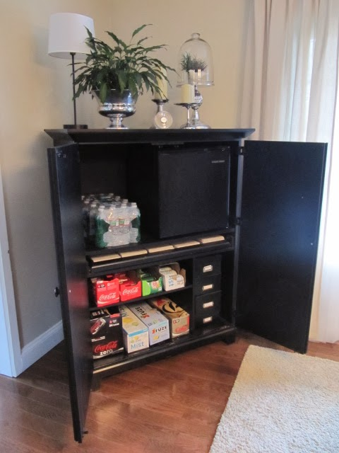 computer desk turned beverage cabinet
