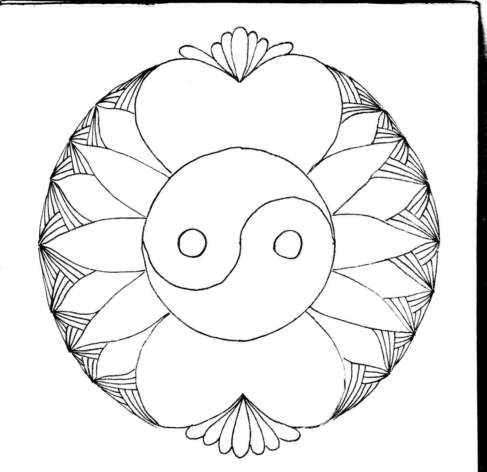 ying yang coloring pages sun mandala tattoo