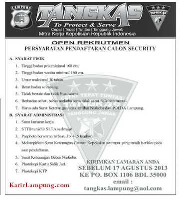 Open Recruitment Calon Security by TANGKAS Lampung