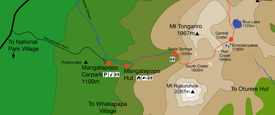 Partial Map of the Tongariro Alpine Crossing, New Zealand