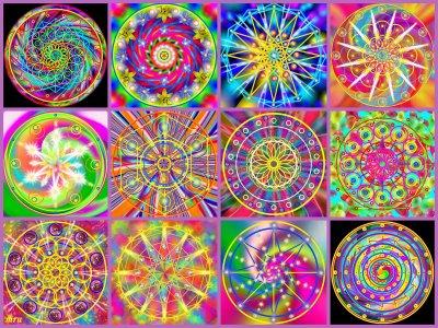 Terapias,clases de ellas para determinadas enfermedades Mandalas+collage+