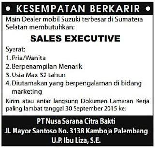 Lowongan Kerja Dealer Mobil Suzuki Sumatera Selatan PT. Nusa Sarana Citra Bakti