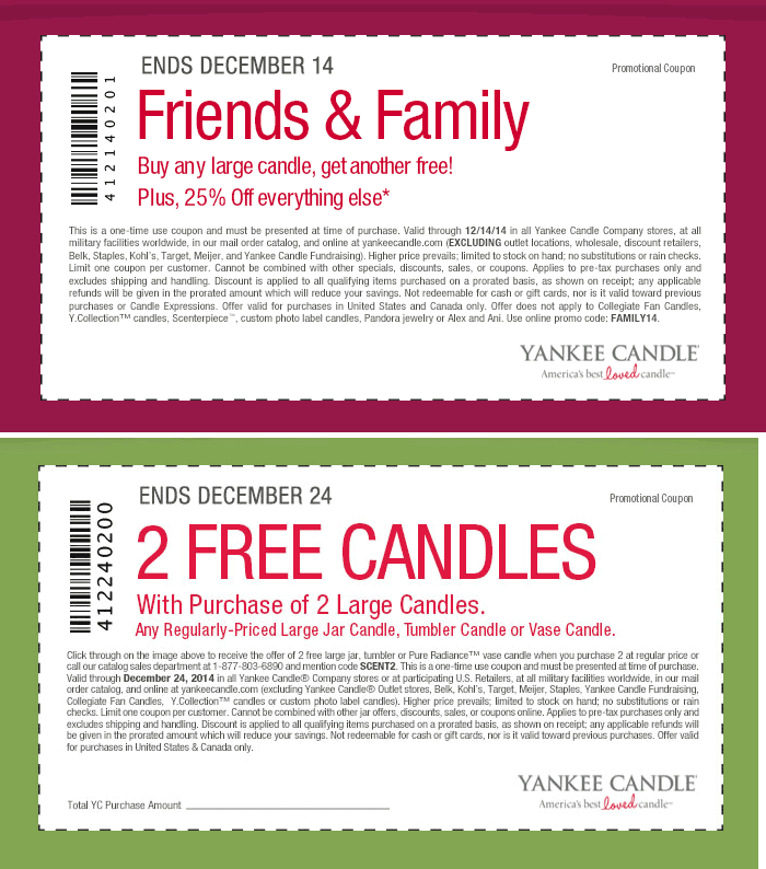 Get the latest Yankee Candle Coupons for December Click to see more promo codes, hand-picked deals and In store coupons for Yankee Candle.
