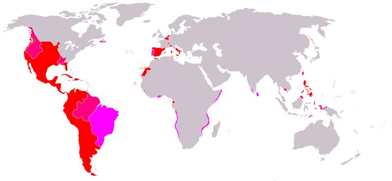 TERRITORIOS PERTENECIENTES AL IMPERIO ESPAÑOL  DESDE 1581, BAJO FELIPE II HASTA 1665 BAJO FELIPE IV  POR LA UNIÓN DE LAS CORONAS DE ESPAÑA Y PORTUGAL.