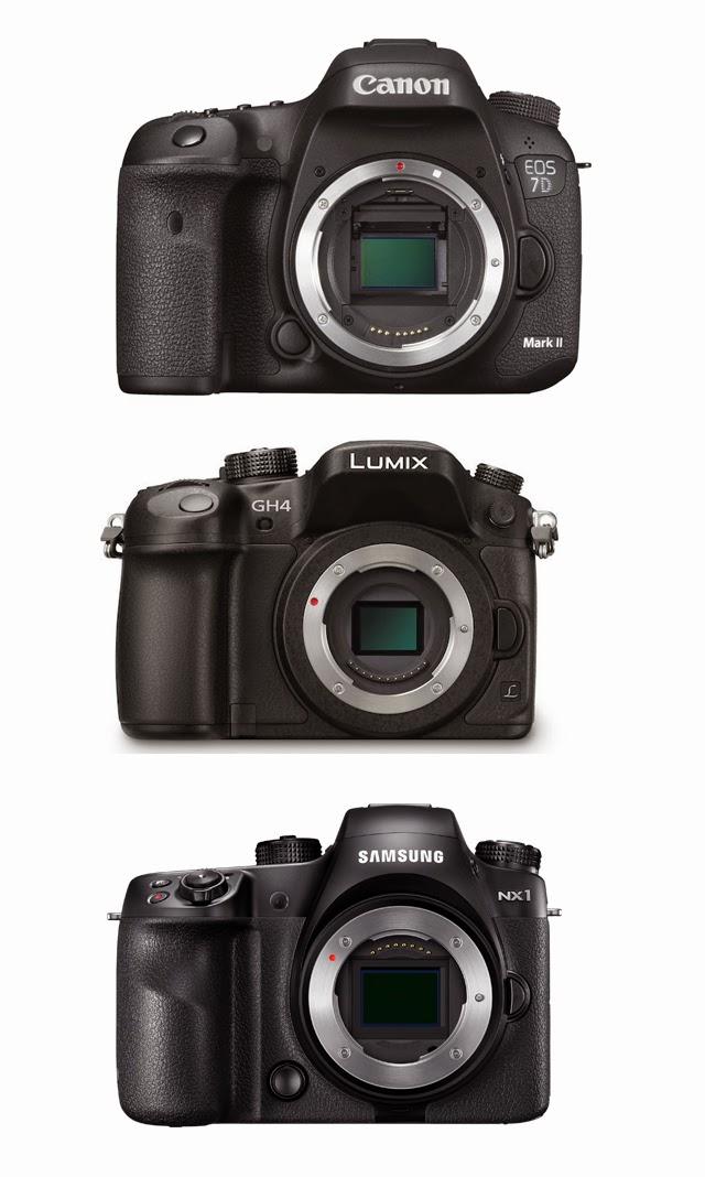 Fotografia frontale della Canon EOS 7D Mk II, Panasonic GH4 e Samsung NX1