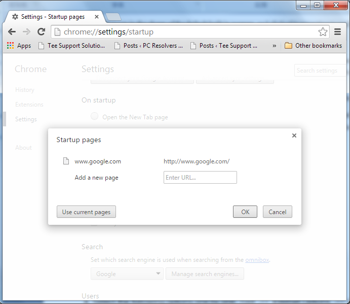 2) Change Google Chrome's startpage to google.com or any other and click the 'Manage search engines...' button;