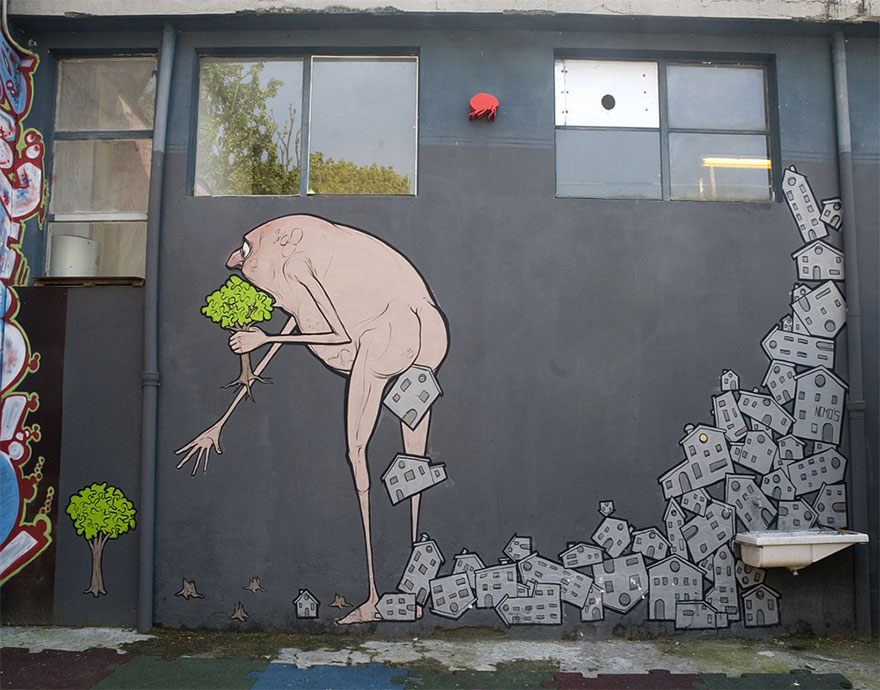 These 30+ Street Art Images Testify Uncomfortable Truths - We're Consuming The Earth And Her Resources
