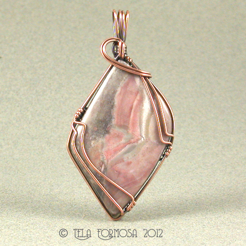 Pink & Gray Jasper Handcrafted Wirewrapped Wire Wrapped Pendant
