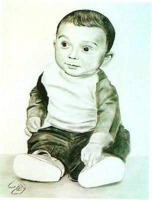 رسم طفل بالرصاص