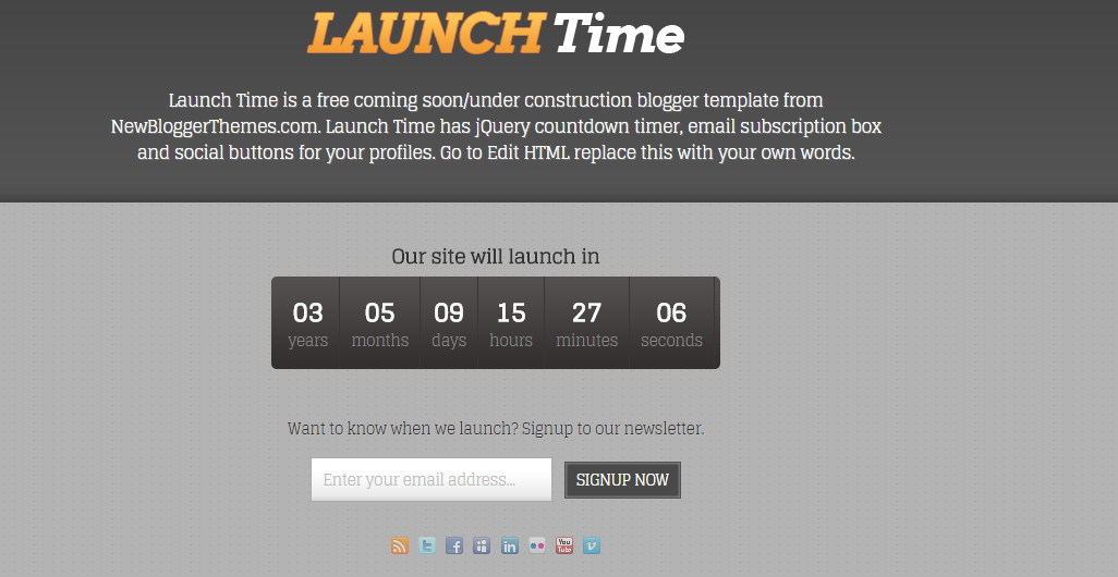 Download Launch Time Free Blogger Template