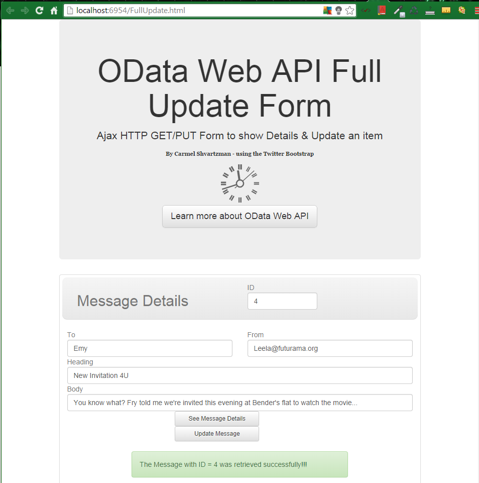 Ajax  OData Web API RESTful Service - HTTP-PUT JSON