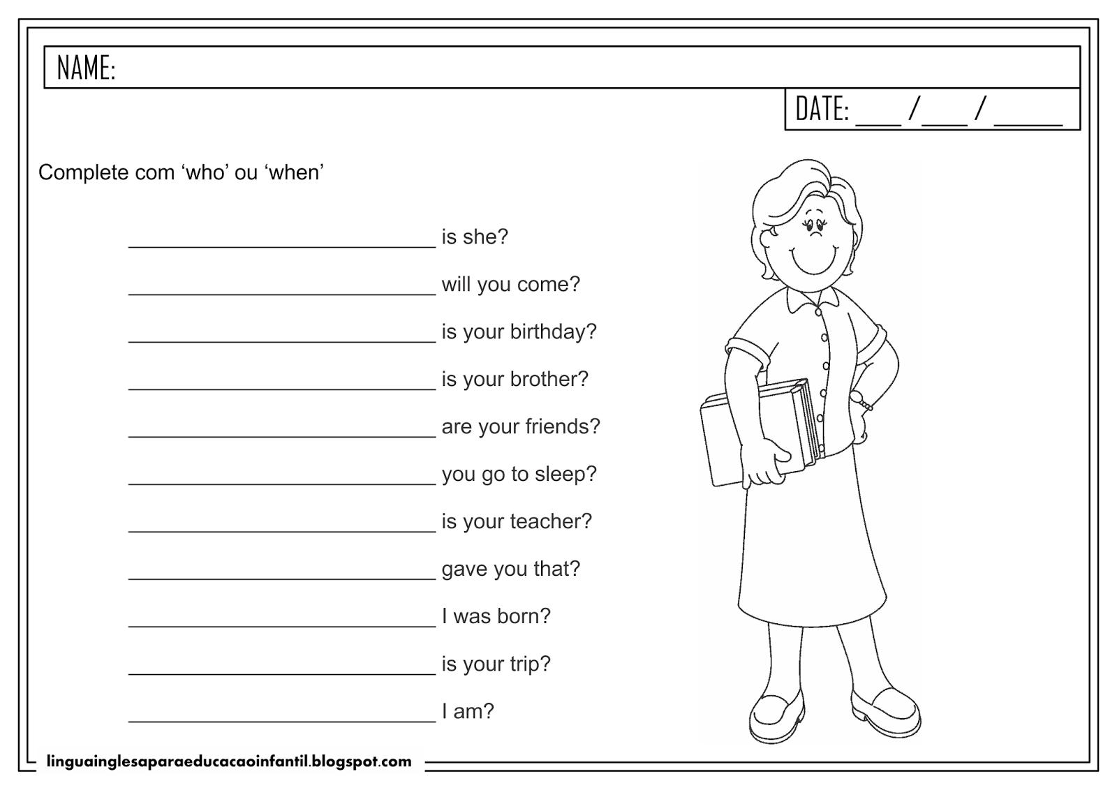 Atividade de inglês -  uso de 'who' e 'when' para educação infantil
