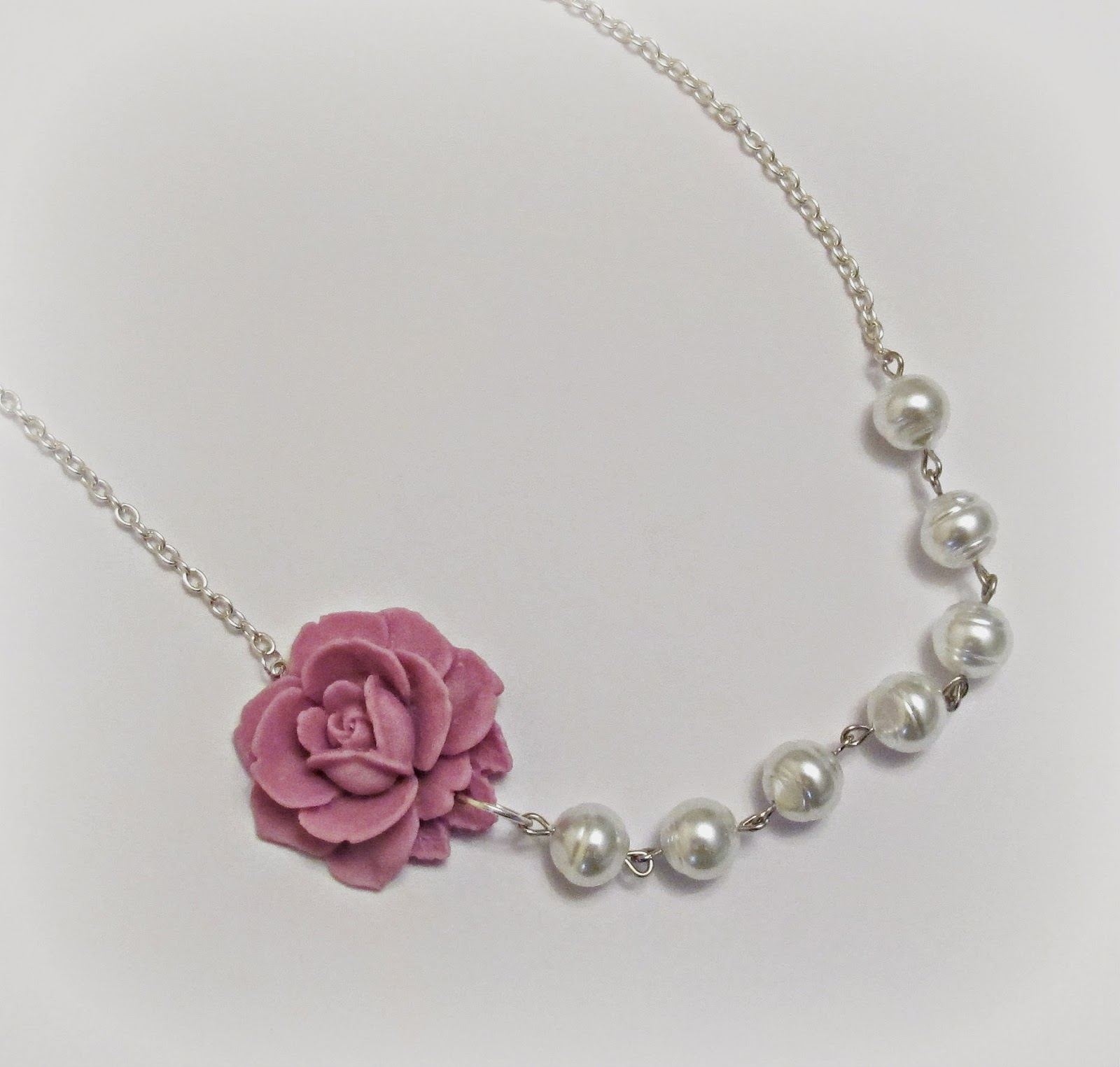 image indis asymmetrical necklace rose lilac mauve snow white glass pearls two cheeky monkeys silver
