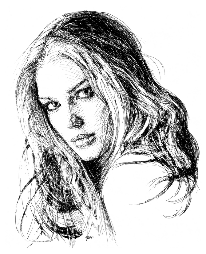 Cross hatching drawing. Traditional drawing technique. Ink portrait