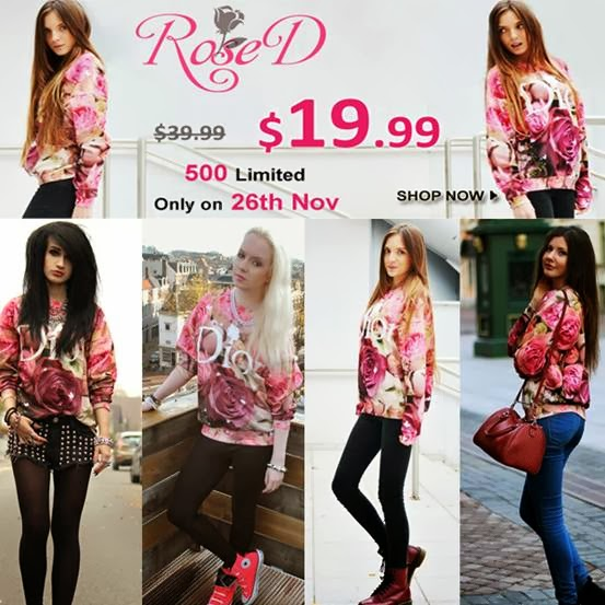 "Romwe ""Rose D"" flash sale, only 24 hours!  $19.99 only, with original price $39.99, on 26th November!"