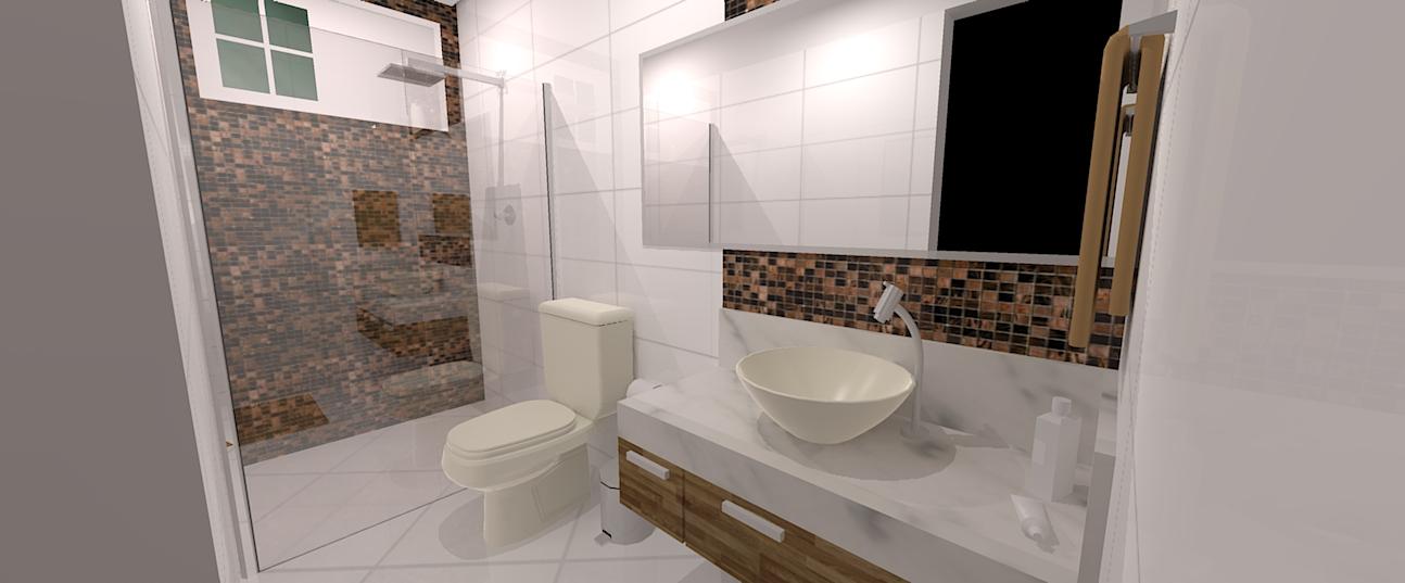 decoracao de banheiro vermelho e branco:Banheiros e renderização