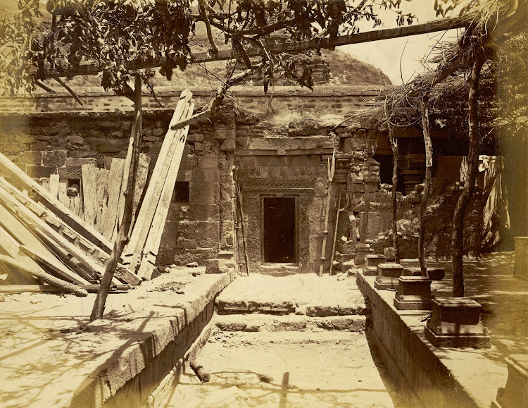 courtyard of Ali Bhavani Temple, Patan, Khandesh District, Maharashtra - c1885