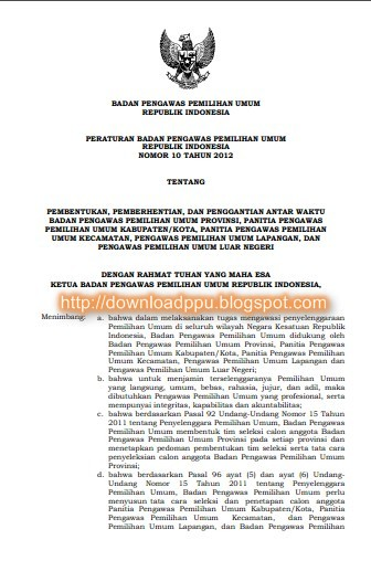 Peraturan-Badan-Pengawas-Pemilihan-Umum-Perbawaslu-Nomor 10-Tahun-2011-Tentang-Pembentukan-Bawaslu-Provinsi-format-pdf
