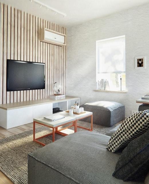 sala planejada com estante de madeira