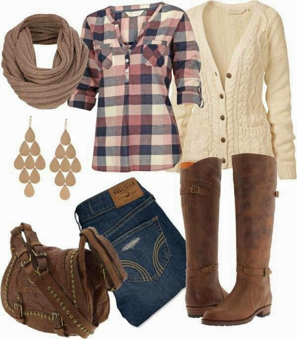 Adorable scarf, shirt, stylish cardigan, jeans and long boots for fall