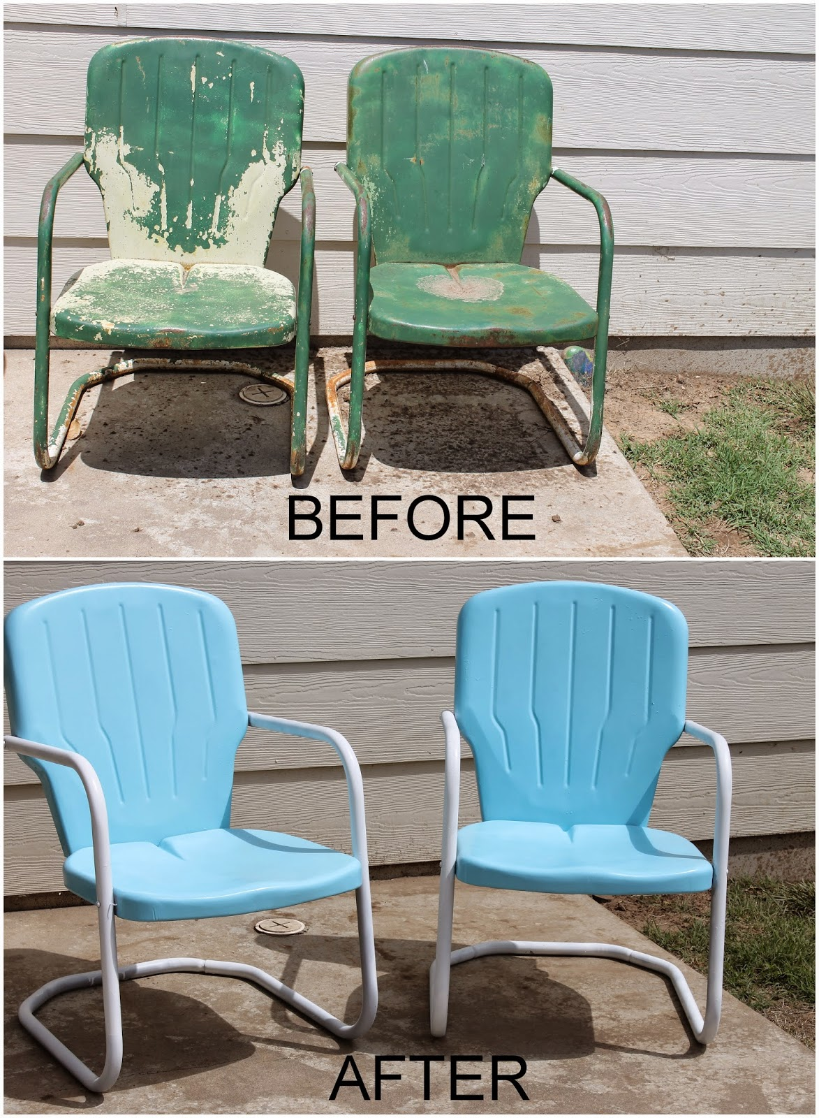Repaint old metal patio chairs diy paint outdoor metal for Best paint for outdoor crafts