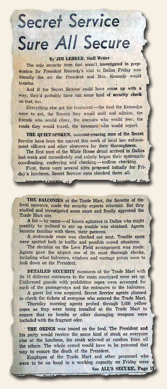 """Dallas Times Herald"" 11/22/63 BEFORE the assassination"
