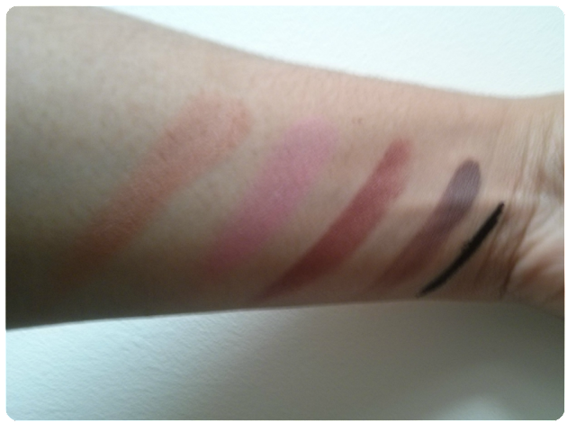 From Left: Too Faced Sun Bunny Bronzer, 17 Blusher in First Kiss, Bobbi Brown Lip  Color in Cocoa, Mac Paint Pot in Quite Natural, Soap and Glory Smoulder Kohl in Super Black