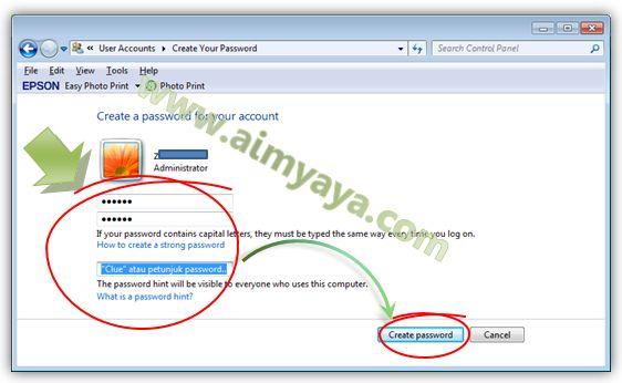 Gambar: Mengisikan password dan petunjuknya