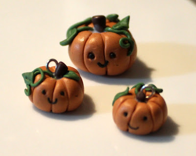 Baked clay pumpkin charms