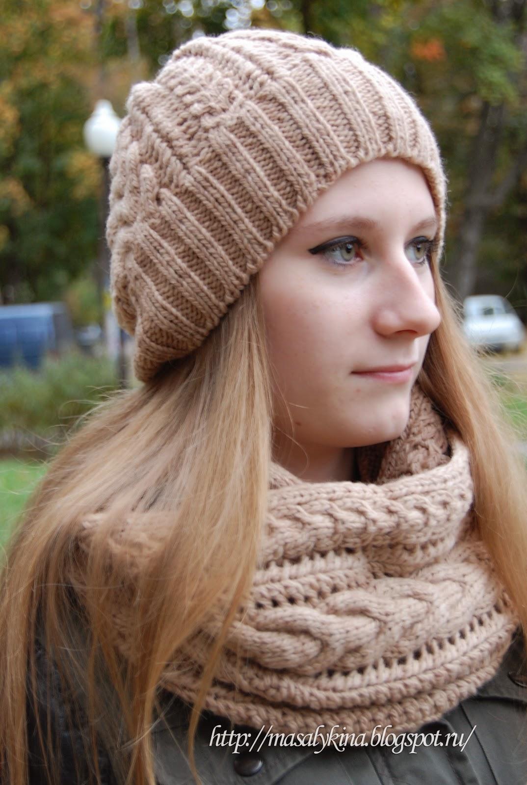 схема вязанной шапки для хвоста из волос