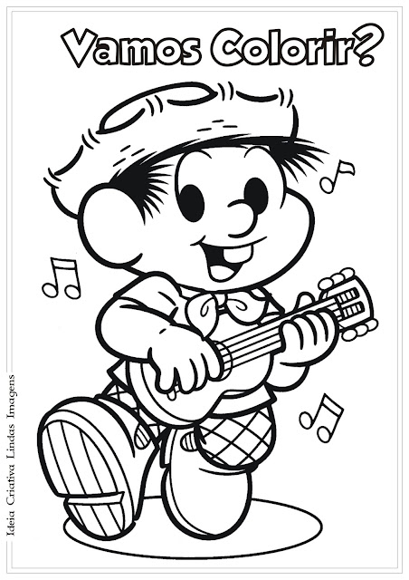Desenho Chico Bento Turma da Mônica para colorir