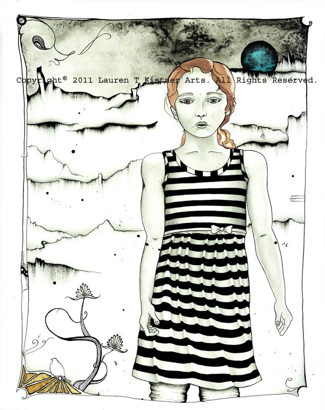 © 2011 Lauren T Kistner. Desert Flower. Ink, watercolor, and graphite on paper