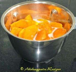 mango, milk and sugar in mixer jar