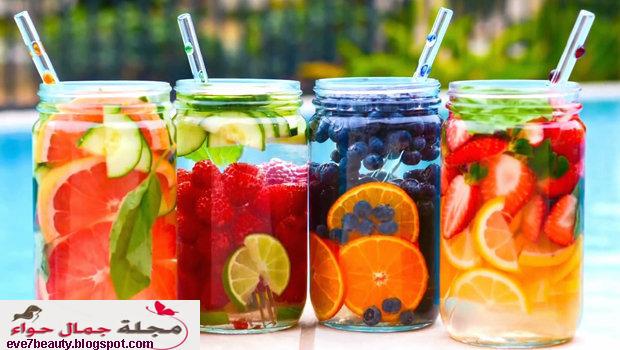 مشروب ماء الديتوكس  بالـ 5 فواكه يخلصك من السموم لبشرة مضيئة فى رمضان detox water Infused