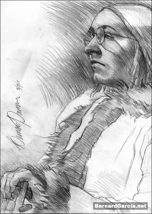 drawing and sketching by artist bernard garcia young woman and