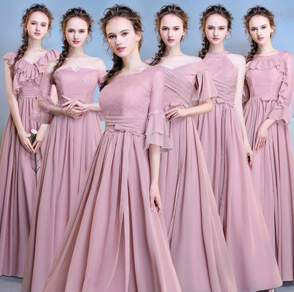 2018 6-Design Pink/Gray Chiffon Bridesmaids Maxi