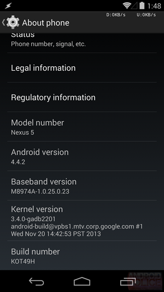 nexus 5 android 4.4.2 kitkat