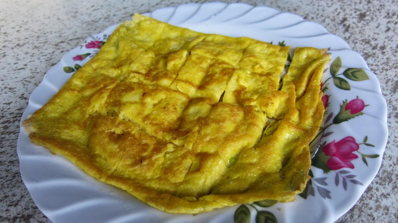 ostrich satay egg omelette