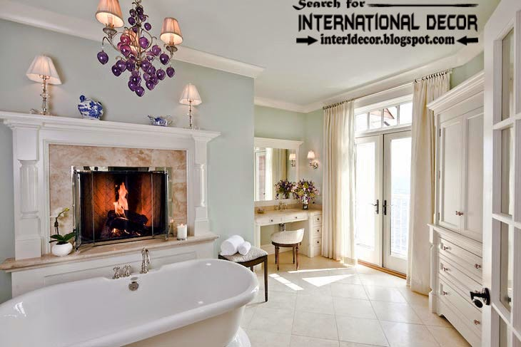 Cozy Interior bathroom with fireplace designs, bathroom fireplace