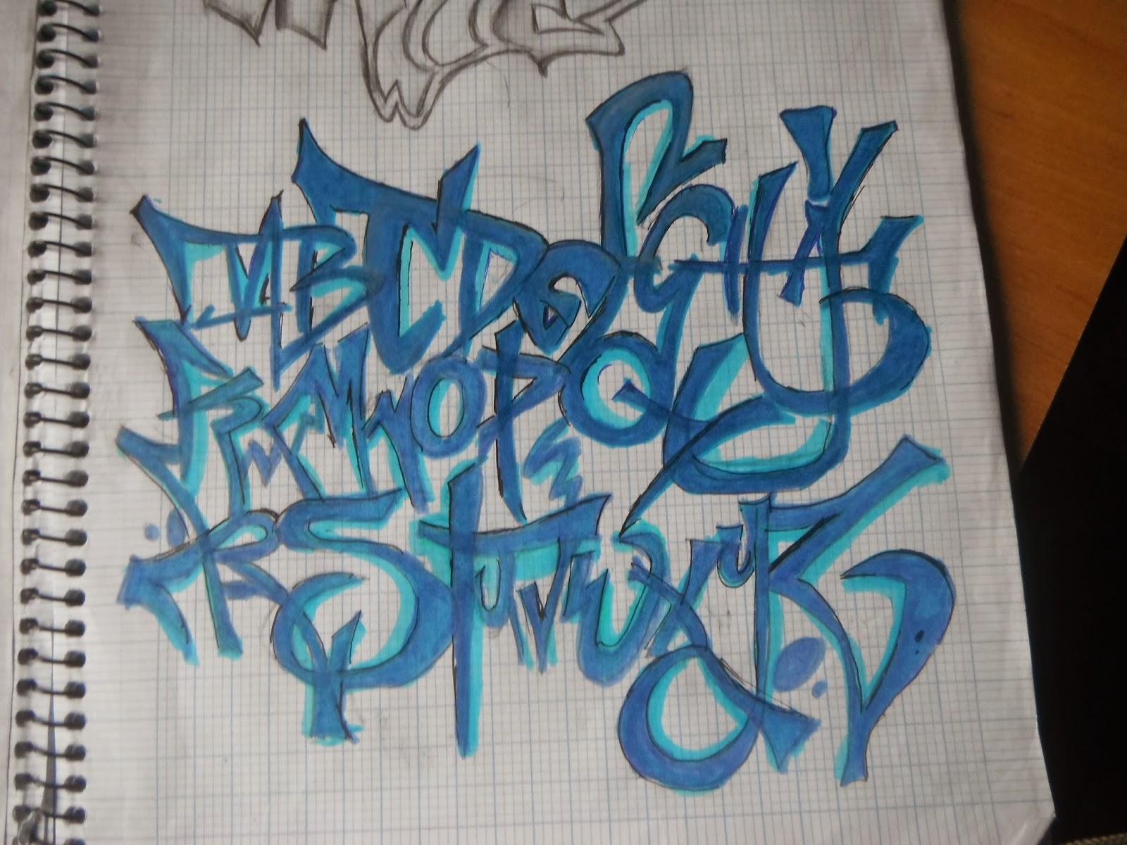 Abecedario en graffiti con sombra - Imagui