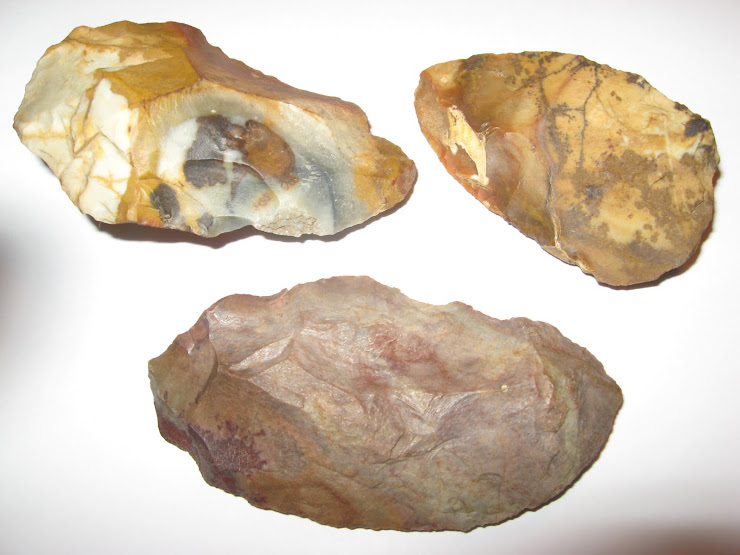 THREE LARGE JASPER SCRAPERS