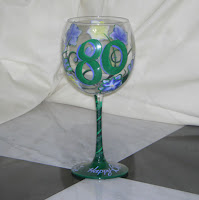 Yellow Green Lavender pattern hand painted wine glass