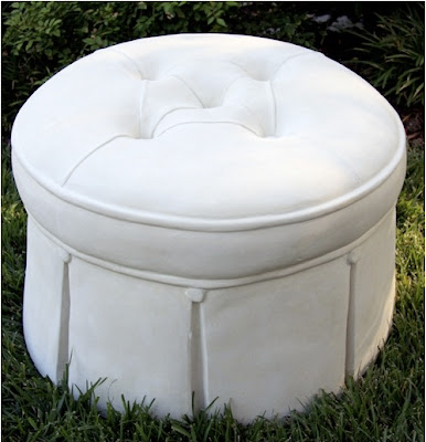 : Furniture Facelift: {DIY} No-sew Ottoman Slipcover & Chair Buttons