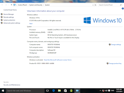 System Properties Windows 10